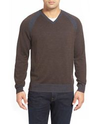 Robert Graham | Brown 'regan' Wool V-neck Sweater for Men | Lyst