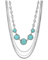 Lucky Brand | Blue Silver-tone Multi-row Stone Necklace | Lyst