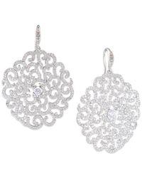 Carolee | Metallic Silver-tone Crystal Openwork Flower Drop Earrings | Lyst