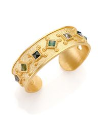 Stephanie Kantis | Metallic Hope Green Moss Agate Cuff Bracelet | Lyst