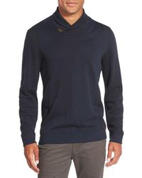 Ted Baker | Blue 'vernila' Shawl Neck Sweatshirt for Men | Lyst