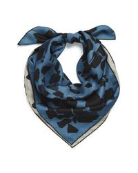 Burberry | Blue Reversible Animal Print Silk Square Scarf | Lyst