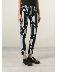 Love Moschino - Black Stars And Stripes Cropped Jeans - Lyst