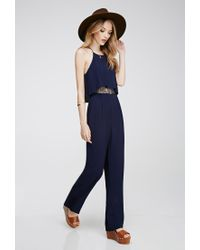 83763685f518 Lyst - Forever 21 Layered Lace-paneled Jumpsuit in Blue