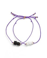 Venessa Arizaga - 'purrfect' Bracelets - Purple (set Of 2) - Lyst