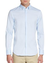 Emporio Armani | Blue Regular-fit Stretch-cotton Sportshirt for Men | Lyst
