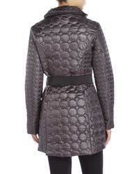 Laundry by Shelli Segal - Gray Circular Quilted Coat - Lyst