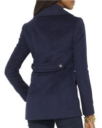 Lauren by Ralph Lauren | Blue Double-breasted Wool Peacoat | Lyst