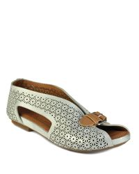 Gentle Souls | Metallic Bless Word Leather Peep Toe Flats | Lyst