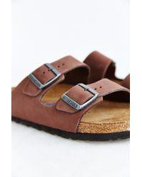 Birkenstock | Brown Arizona Nubuck Soft Footbed Slide Sandal | Lyst