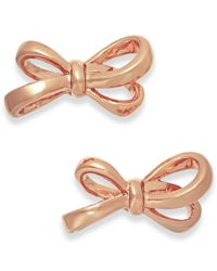 kate spade new york | Pink Gold-Tone Bow Stud Earrings | Lyst