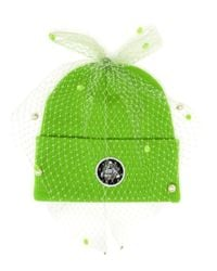 Silver Spoon Attire - Green Beanie Hat With Mesh Bow - Lyst