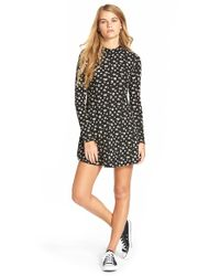 Lush | Black Long Sleeve Knit Dress | Lyst