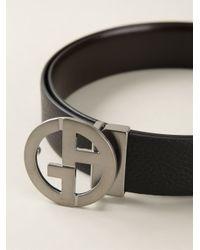 Giorgio Armani - Black Logo Plaque Leather Belt for Men - Lyst