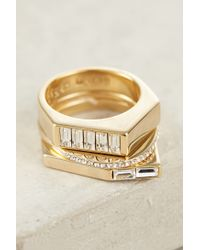 Sarah Magid | Metallic Gilded Collage Stacked Rings | Lyst