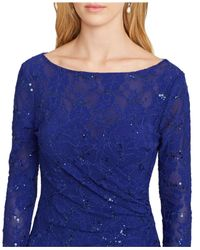 Lauren by Ralph Lauren - Blue Sequined Faux-Wrap Dress - Lyst