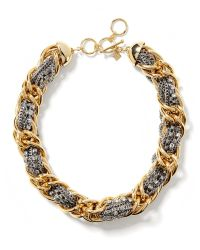 Banana Republic - Metallic Mixed Metal Woven Necklace - Lyst