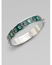 Alexander McQueen - Green Enamel Skull Small Bangle Bracelet - Lyst