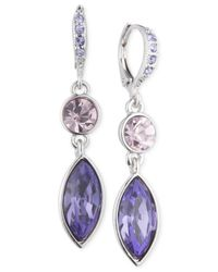 Givenchy - Silver-tone Purple Crystal Double Drop Earrings - Lyst
