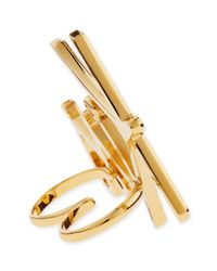 Lanvin | Metallic Two-finger Golden Kiss Ring | Lyst