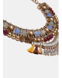 Mango - Metallic Pendant Chain Necklace - Lyst