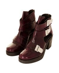 TOPSHOP | Red Aubrey3 Cut Out Boots | Lyst