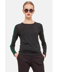 Akris Punto - Black Stripe Wool Sweater - Lyst