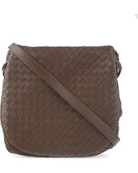 Bottega Veneta | Brown Intrecciato Leather Fold Over Satchel | Lyst