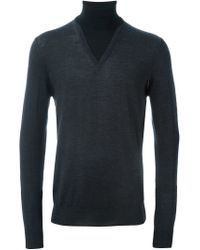 Paolo Pecora - Gray Layered Roll Neck Sweater for Men - Lyst
