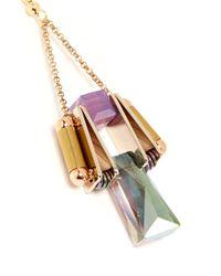 Scho - Pink Electroplate Crystal Drop Earrings - Lyst