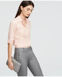 Ann Taylor | Pink Silky Camp Shirt | Lyst