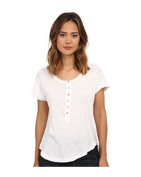 Free People | White Cotton Linen Slub Weekend Henley | Lyst