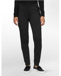 Calvin Klein | Black Jeans Faux Leather + Zip Sweatpants | Lyst