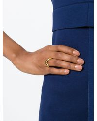 JvdF - Metallic Gold Plated Sterling Silver Large Angle Ring - Lyst