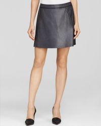 Vince - Blue Skirt Contrast Insert Leather - Lyst