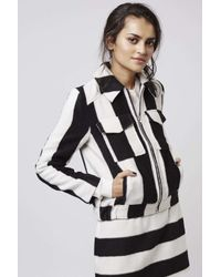 TOPSHOP | Black Stripe Wool Mix Jacket | Lyst
