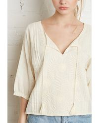 Forever 21 - Natural Floral-embroidered Peasant Top - Lyst