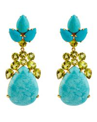 Bounkit | Blue Turquoise & Peridot Drop Earrings | Lyst