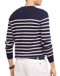 Polo Ralph Lauren | Blue Striped Pima Crewneck Sweater for Men | Lyst
