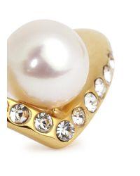 Vita Fede | Metallic Ultra Mini V Gold-plated Pearl Ring | Lyst