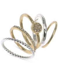 Nine West | Metallic Two-Tone Set Of 5 Stacking Rings | Lyst