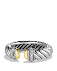 David Yurman | Metallic Waverly Bracelet With Gold Dome & Diamonds | Lyst