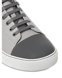 Lanvin - Gray Contrasting Toe Cap Leather Mid-Top Sneakers for Men - Lyst