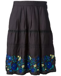 Zucca | Blue Embroidered Floral Skirt | Lyst