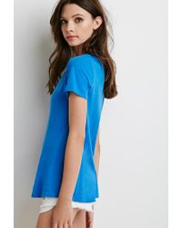 Forever 21 - Blue Distressed Trim Tee - Lyst