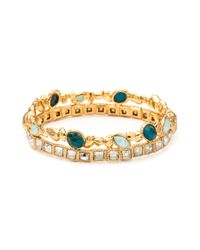 Alexis Bittar | Blue Gold Muse D'or Stacked Hinged Bracelet | Lyst