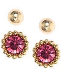 Anne Klein | Metallic Gold-tone Crystal And Solid Stud Earring Set | Lyst