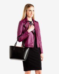 Ted Baker - Black Crosshatch Leather Shopper Bag - Lyst