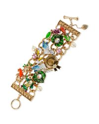 Betsey Johnson | Metallic Goldtone Hat Pelican Multi Charm Toggle Bracelet | Lyst