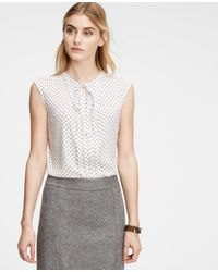 Ann Taylor - White Petite Floral Pleated Tie Neck Shell - Lyst